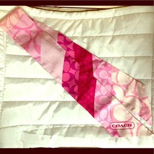 Coach Pink & White Purse tie/ Ponytail scarf 🧣